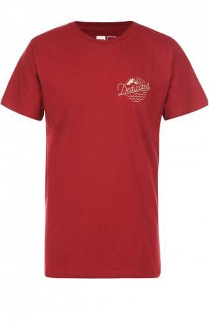 Хлопковая футболка с принтом Dedicated. Цвет: бордовый