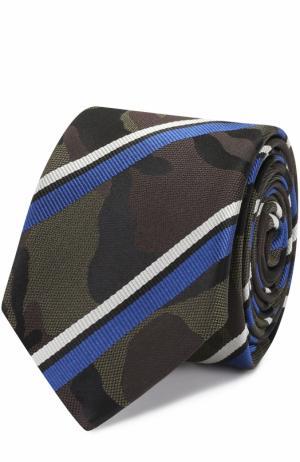 Шелковый галстук с камуфляжным принтом в полоску Valentino. Цвет: синий