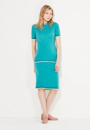 Комплект поло и юбка Laroom. Цвет: бирюзовый
