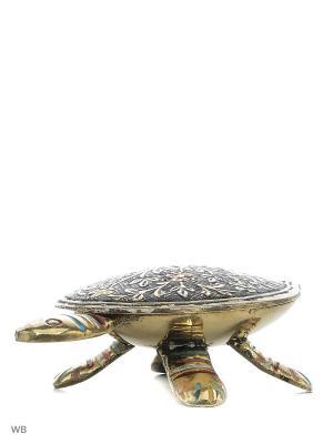 Шкатулка Черепаха латунь цветная эмаль ETHNIC CHIC. Цвет: черный, салатовый, голубой, светло-коралловый, красный, золотистый, желтый, белый