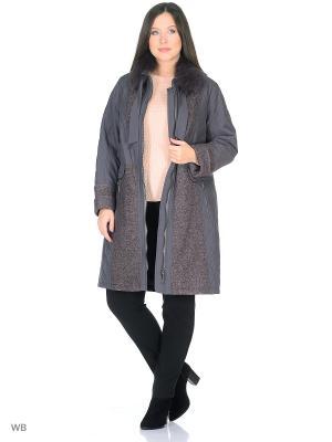 Пальто Альфина VIKO. Цвет: серый, светло-коричневый
