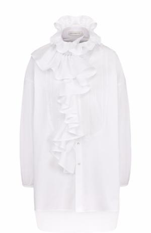 Удлиненная хлопковая блуза с оборками Faith Connexion. Цвет: белый