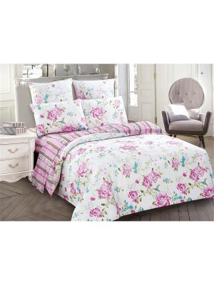 Комплект постельного белья, 1,5сп Jardin. Цвет: розовый, белый