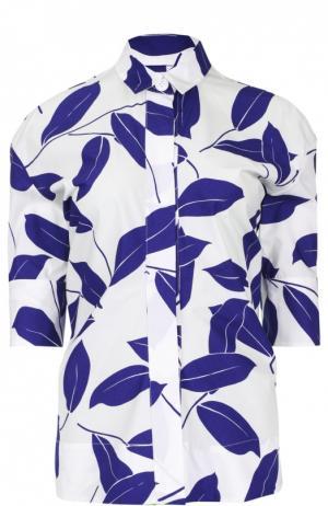 Блуза с укороченным рукавом и ярким принтом Marni. Цвет: белый