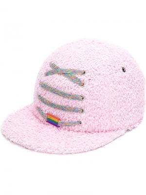 Фактурная кепка со шнуровкой Maison Michel. Цвет: розовый и фиолетовый