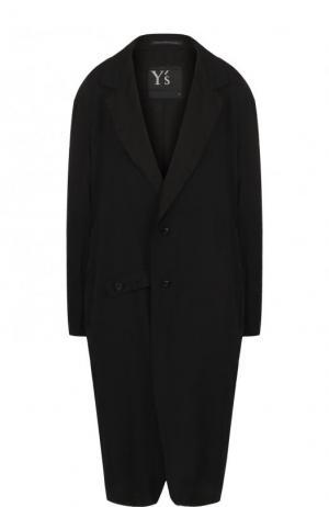 Однотонное хлопковое пальто свободного кроя Yohji Yamamoto. Цвет: черный