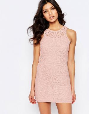 Foxiedox Кружевное платье мини Monticello. Цвет: розовый