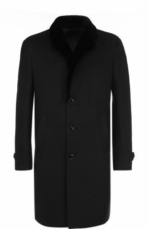 Однобортное кашемировое пальто с меховой отделкой воротника Ermenegildo Zegna. Цвет: черный