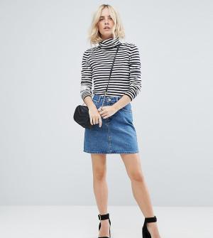ASOS Petite Выбеленная синяя джинсовая юбка с завышенной талией DESIGN. Цвет: синий