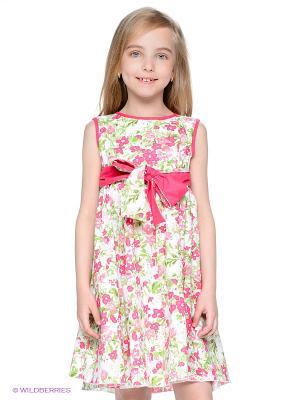 Сарафан PlayToday. Цвет: розовый, белый, светло-зеленый, малиновый