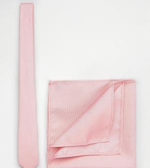 ASOS Бледно-розовые галстук и платок для нагрудного кармана TALL. Цвет: розовый