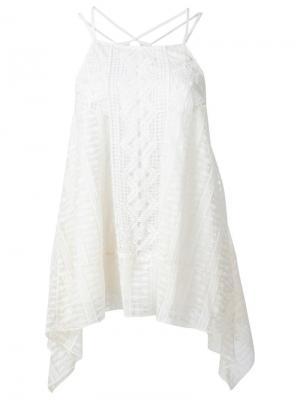 Многослойная блузка с элементом кроше Alice+Olivia. Цвет: белый