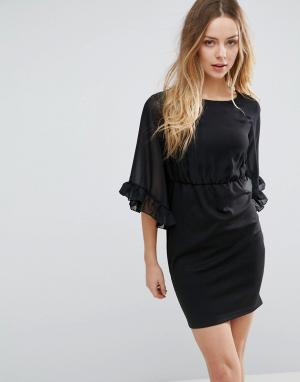 Jasmine Платье-футляр с оборками на рукавах. Цвет: черный