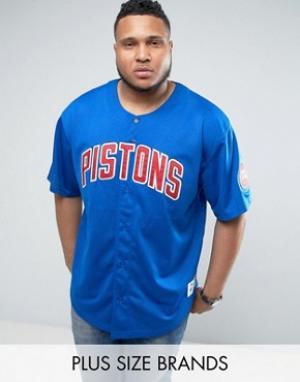 Mitchell & Ness Сетчатая футболка PLUS NBA Detroit Pistons. Цвет: синий