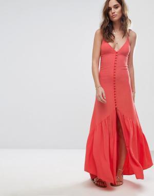 Flynn Skye Платье миди на пуговицах. Цвет: оранжевый