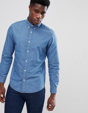 Selected Homme Приталенная джинсовая рубашка с воротником на пуговицах. Цвет: синий
