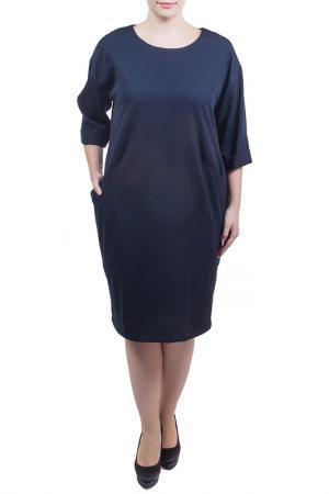 Свободное платье с округлым вырезом Piena. Цвет: темно-синий