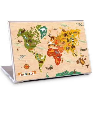 Наклейка на ноутбук My World-Petit Collage. Gelaskins. Цвет: бежевый, зеленый