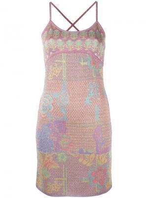 Платье-комбинация с узором и люрексом Christian Lacroix Vintage. Цвет: многоцветный