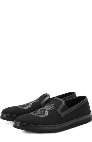 Текстильные слипоны Mondello с кожаной отделкой Dolce & Gabbana. Цвет: черный