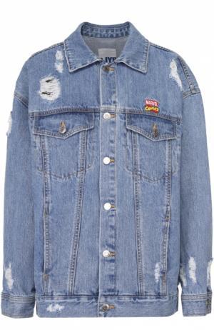 Джинсовая куртка с потертостями и контрастным принтом на спинке Steve J & Yoni P. Цвет: голубой