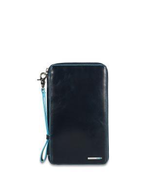 Мульти-портмоне на молнии PIQUADRO. Цвет: синий