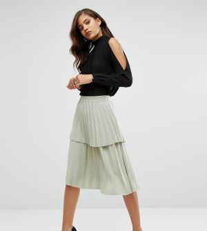 Y.A.S Tall Плиссированная многоярусная юбка миди с оборкой Julia. Цвет: зеленый