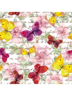 Art Холст Строчки и бабочки 25х25 см DECORETTO. Цвет: желтый, розовый, фиолетовый