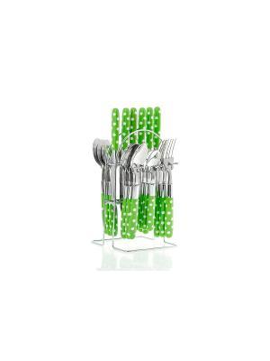 Набор столовых приборов на подставке Floret,24 предмета (зеленый) Elff Ceramics. Цвет: зеленый