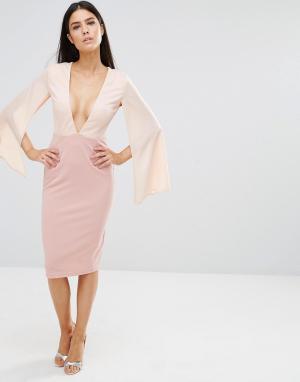 Rare Контрастное платье миди с декольте. Цвет: розовый