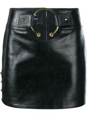 Leather Mini Skirt with Gold Ring Anthony Vaccarello. Цвет: чёрный