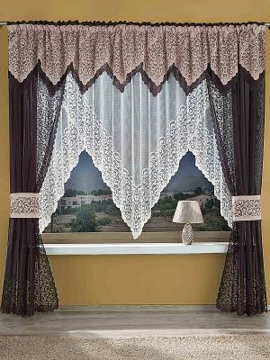 Комплект штор Wisan. Цвет: коричневый, персиковый, кремовый