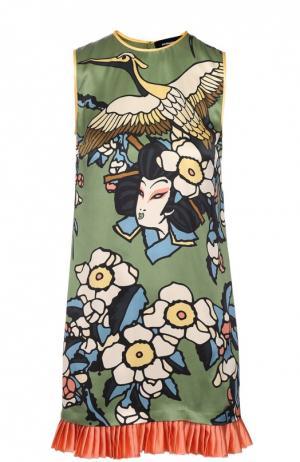Шелковое мини-платье с ярким принтом и плиссированной оборкой Dsquared2. Цвет: разноцветный
