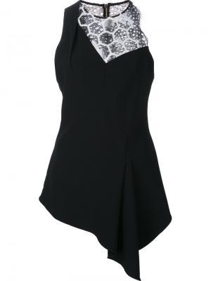 Блузка без рукавов с кружевной вставкой Roland Mouret. Цвет: чёрный