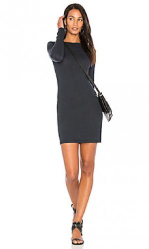 Мини платье с круглым вырезом и длинным рукавом Enza Costa. Цвет: синий