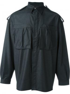 Рубашка с эполетами E. Tautz. Цвет: серый