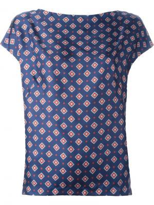 Блузка с орнаментом Alberto Biani. Цвет: синий