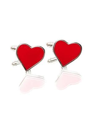 Запонки красные сердца Churchill accessories. Цвет: серебристый