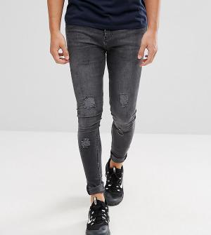 Brooklyn Supply Co. Черные выбеленные обтягивающие джинсы с рваной отделкой Suppl. Цвет: черный