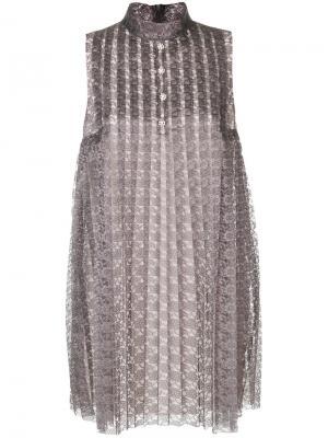 Расклешенное платье с кружевной отделкой Philosophy Di Lorenzo Serafini. Цвет: серый