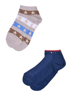 Носки, 2 пары Skinija. Цвет: синий, бежевый