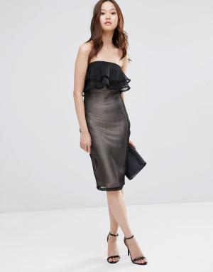 Girl In Mind Облегающее сетчатое платье-бандо миди с оборками India. Цвет: черный