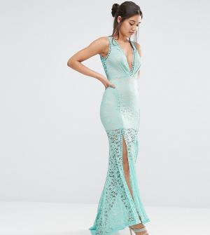 Love Triangle Кружевное платье макси с глубоким вырезом и решетчатой отделкой T. Цвет: синий