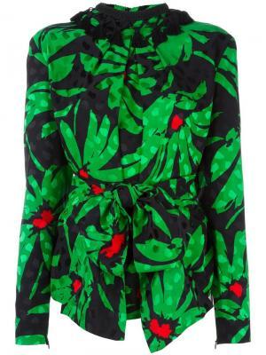 Блузка с растительным принтом Balenciaga Vintage. Цвет: чёрный