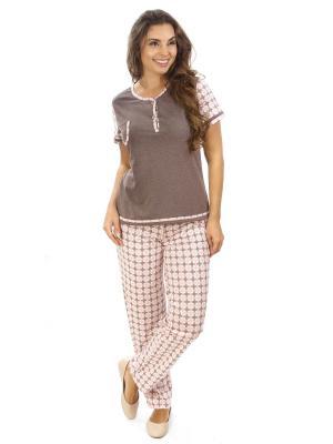 Костюм с брюками Алтекс.. Цвет: коричневый, розовый