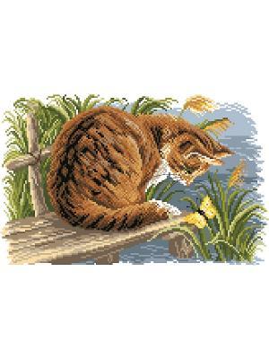 Рисунок на канве Любопытный котенок Матренин Посад. Цвет: коричневый, зеленый