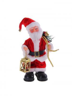 Дед Мороз музыкальный с фонарем и подарками (англ. мелодия), 26см А М Дизайн. Цвет: черный, зеленый, красный, коралловый, золотистый, персиковый, белый