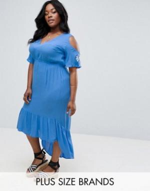 Diya Платье макси с вышивкой на рукавах. Цвет: синий