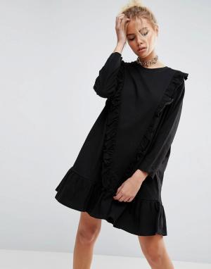 ASOS Хлопковое платье с присборенной юбкой и оборками. Цвет: черный