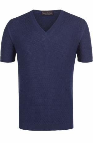 Хлопковый пуловер с короткими рукавами Fabrizio Del Carlo. Цвет: темно-синий